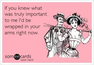 someecards.com - If you knew what was truly important to me I'd be wrapped in your arms right now.
